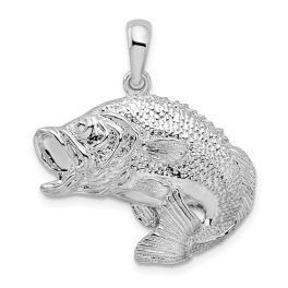 Sterling Silver Jumping Bass Fish Pendant