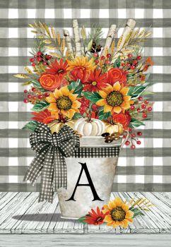 Autumn Arrangement Monogram Garden Flag