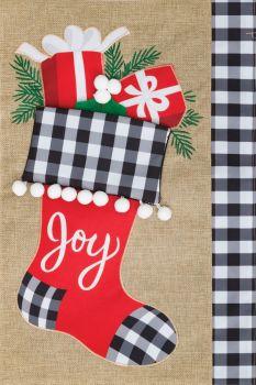 Joy Stocking Garden Flag