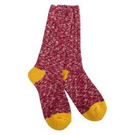 World's Softest Weekend Ragg Crew Socks - Cranberry