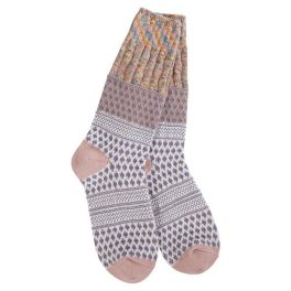 World's Softest Weekend Gallery Textured Crew Socks - Taupe Confetti