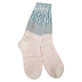 World's Softest Weekend Gallery Textured Crew Socks - Sage Confetti