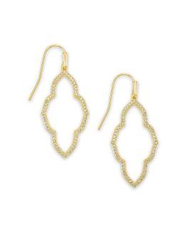 Kendra Scott Abbie Gold Small Open Frame Earrings In White Crystal