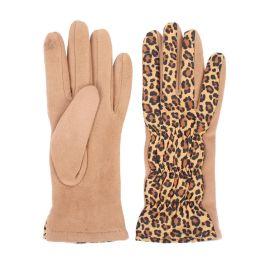 Leopard Puffer Gloves - Tan