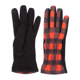 Buffalo Check Puffer Gloves - Red