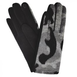 Camo Knit Smart Touch Gloves - Black