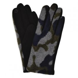 Camo Knit Smart Touch Gloves - Navy
