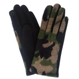 Camo Knit Smart Touch Gloves - Olive