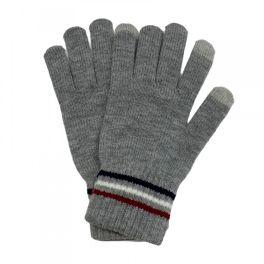 Stripe Knit Smart Touch Gloves - Grey