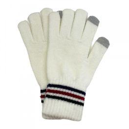 Stripe Knit Smart Touch Gloves - Ivory