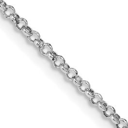 """Sterling Silver Rhodium-Plated 1.5mm Rolo Chain - 24"""""""