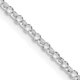 """Sterling Silver Rhodium Plated 2mm Rolo Chain - 24"""""""