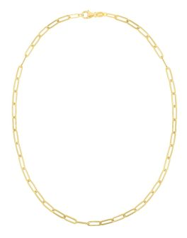 """14K Yellow Gold 4mm Paperclip Chain - 18"""""""