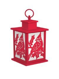 Holiday Frosted Glass Panel Fire Flame Lantern - Red
