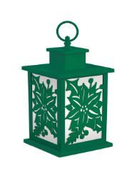 Holiday Frosted Glass Panel Fire Flame Lantern - Green