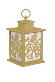 Holiday Frosted Glass Panel Fire Flame Lantern - Gold