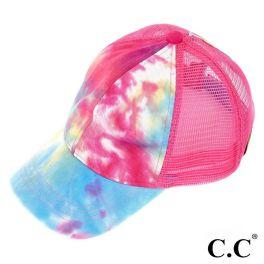 CC Tie-Dye Ponytail Trucker Cap - Hot Pink