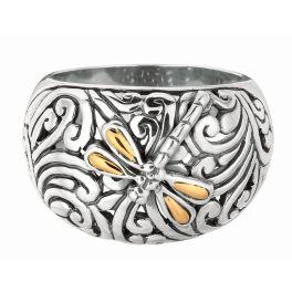 Phillip Gavriel Sterling Silver & 18K Dragonfly Ring - Size 7