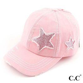 CC Vintage Glittery Star Ponytail Baseball Cap - Light Pink