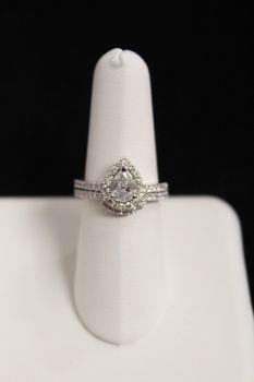14K White Gold Pear Diamond Engagement Set