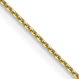 """10K Yellow Gold .8mm Diamond-Cut Cable Chain - 24"""""""