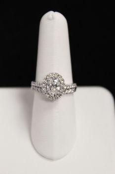 14K White Gold Oval Diamond Wedding Set
