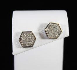 10K White Gold Micro Pave Hexagon Diamond Stud Earrings - .33Ct