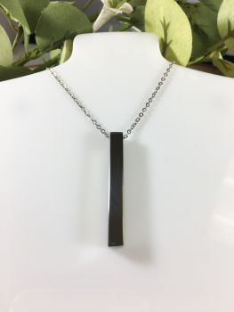 Stainless Steel Cube Bar Necklace
