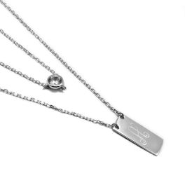 Sterling Silver Layered CZ Engravable Necklace
