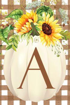 Sunflower Pumpkin Applique Monogram Garden Flag
