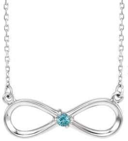 Sterling Silver 1-Stone Family Infinity Necklace