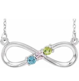 Sterling Silver 3-Stone Family Infinity Necklace