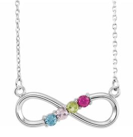 Sterling Silver 4-Stone Family Infinity Necklace