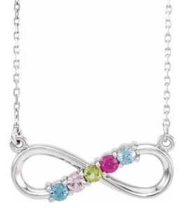 Sterling Silver 5-Stone Family Infinity Necklace