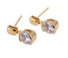 Elle Sterling Silver CZ Earrings - Gold Plated
