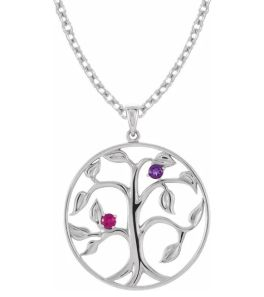 Sterling Silver 2-Stone Family Tree Necklace