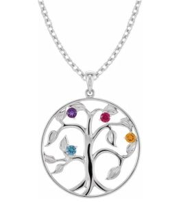 Sterling Silver 4-Stone Family Tree Necklace