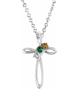 Sterling Silver 3-Stone Family Cross Necklace