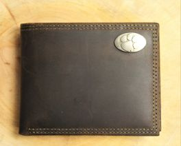 Clemson Brown Leather Wallet