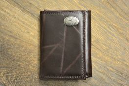 Brown Wrinkle Trifold Clemson Wallet