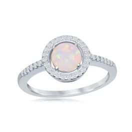 Sterling Silver Round White Opal Cubic Zirconia Halo Ring