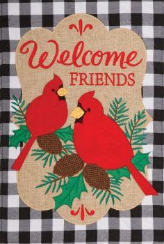 Welcome Cardinals Applique Garden Flag