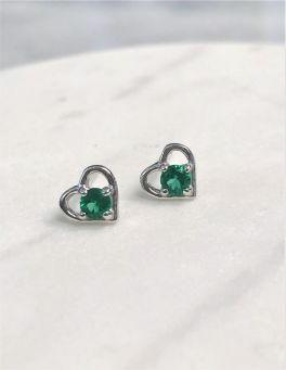 Sterling Silver Heart Birthstone Stud Earrings