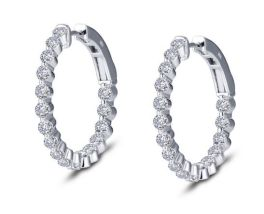 Lafonn Classic Hoop Earrings - 1.70 CTTW