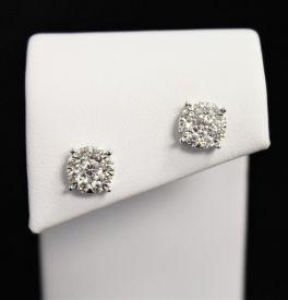 14K White Gold Diamond Galaxy Earrings - 1CT