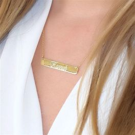 Sterling Silver Bar Necklace - Gold Plated