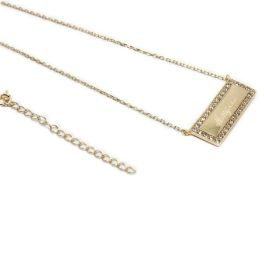 Sterling Silver Engravable CZ Bar Necklace - Gold Plated