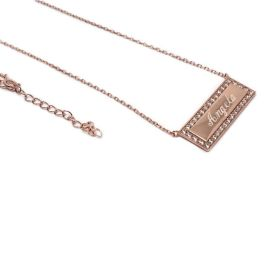 Sterling Silver Engravable CZ Bar Necklace - Rose Gold Plated