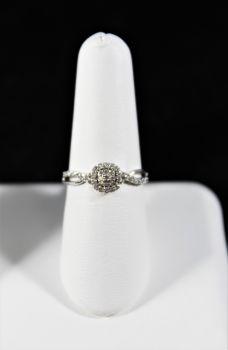 Ladies 10K White Gold Engagement Ring - 1/5Ct - Size 7