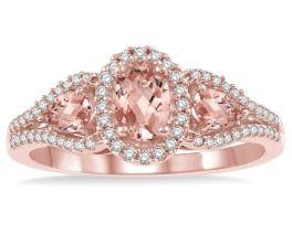 10K Rose Gold Oval Morganite & Diamond Ring - SIZE 7